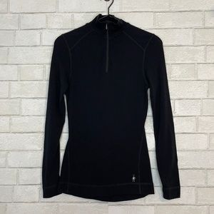 Smartwool Black Midweight Quarter Zip Pullover S
